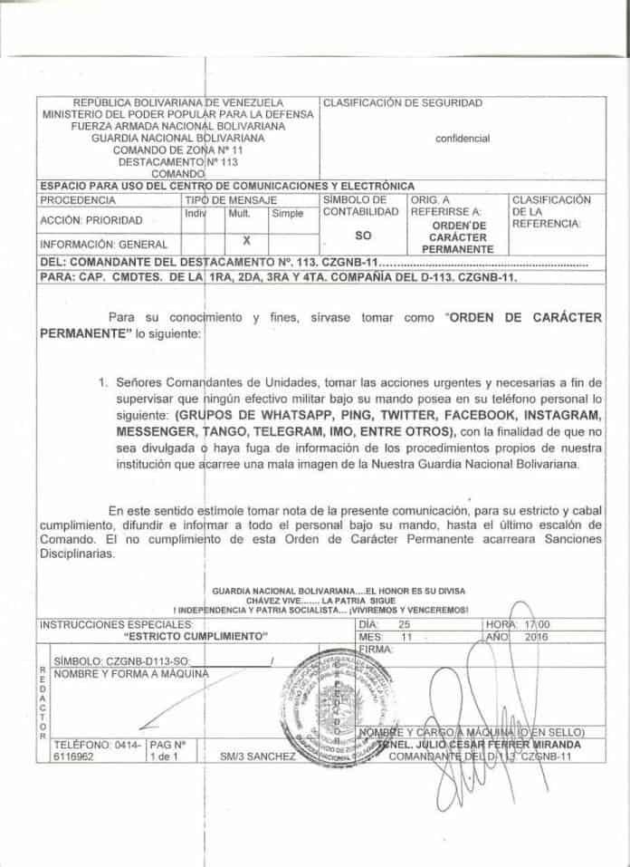 Diario El Universal publicó en web el oficio de la prohibición. Cortesía El Universal.