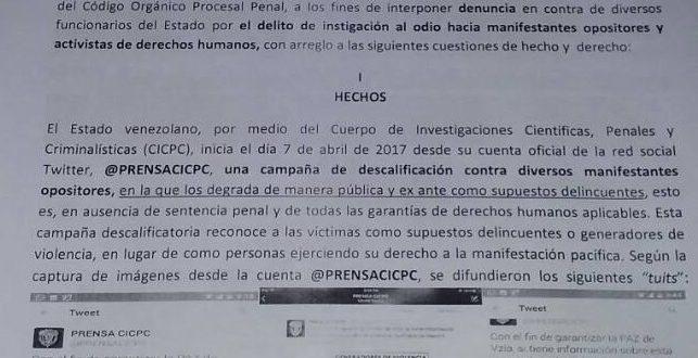 Espacio Público denunció al Estado por campaña de instigación al odio hacia manifestantes