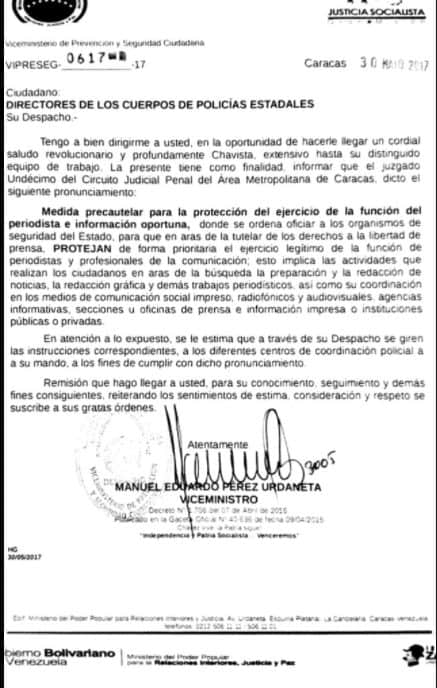 Oficio de Ministerio de Interior