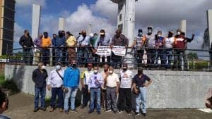 Imagen de la protesta de los sindicalistas en Guayana